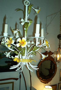 4 Light Tole Chandelier With Yellow Flowers - Antiques Great Barrington, MA