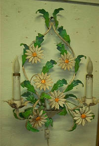 Italian Tole 2 Light Wall Sconce - Antiques Great Barrington, MA
